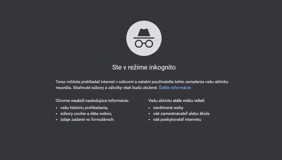 Google Chrome - režim inkognito