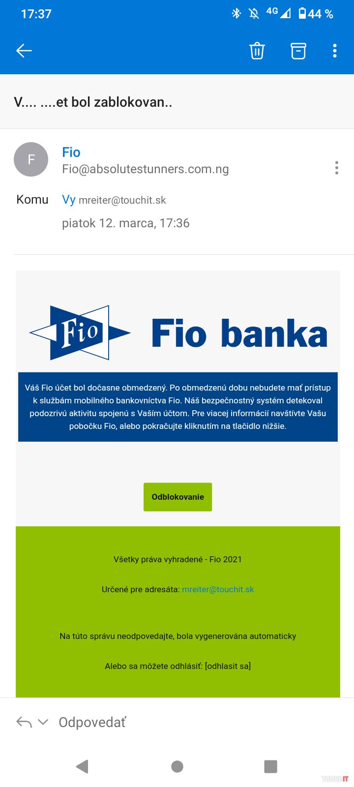Email tváraci sa ako Fio banka.