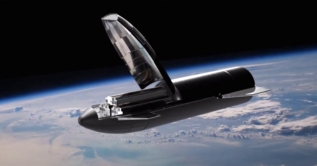 Vizualizácia ako Starship vypúšťa satelity Starlink.